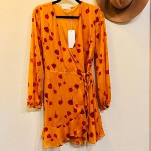 NWT Yellow Floral Wrap Dress by Lush, M
